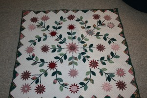 This quilt is hand pieced, appliqued and quilted.