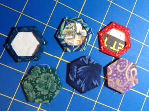 Hexies basted to paper
