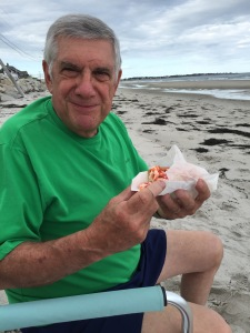 Chuck enjoying his lobster roll